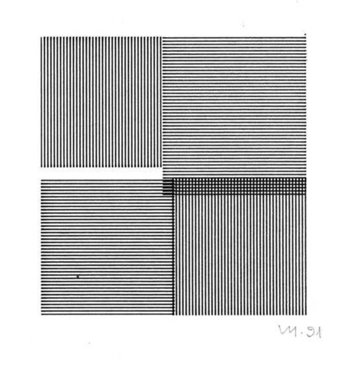 Vera Molnar, Quatre carrès, open series, plotter drawing, 1991, +/- 7,8 x 7,4 cm