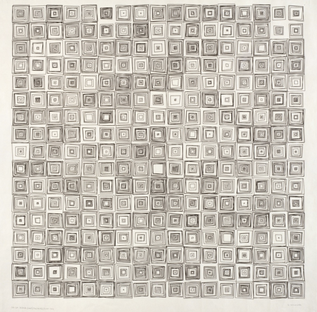 Vera Molnar, (Dés)Ordres, 1974, open series, plotter drawing, 70 x 70 cm