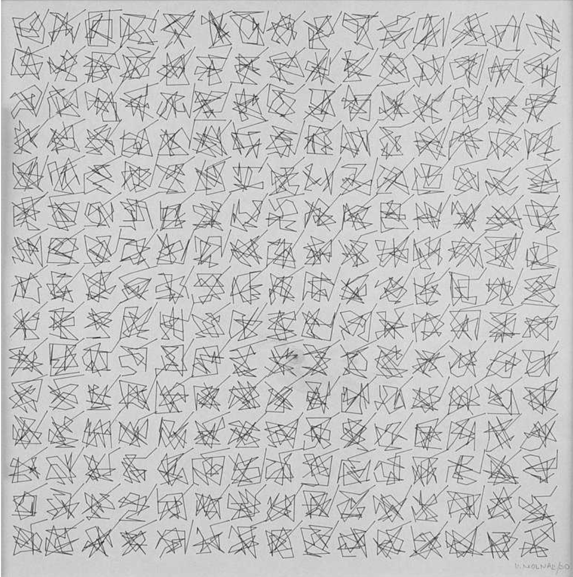 225 variations aléatoires, direction chaos, plotter drawing, open series, 1990, +/- 30 x 30 cm