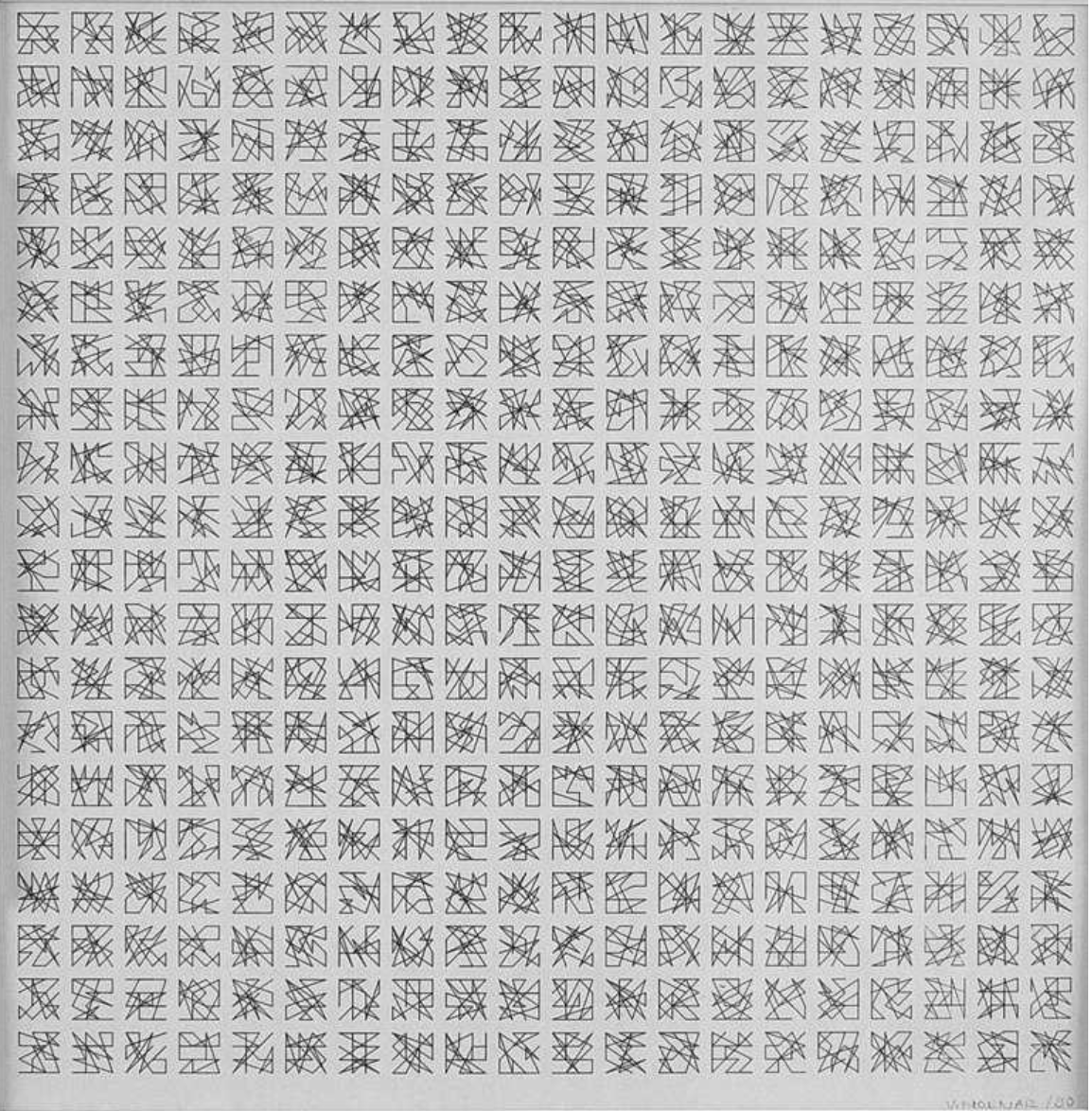 400 variations, plotter drawing, open series 1990, +/- 30 x 30 cm