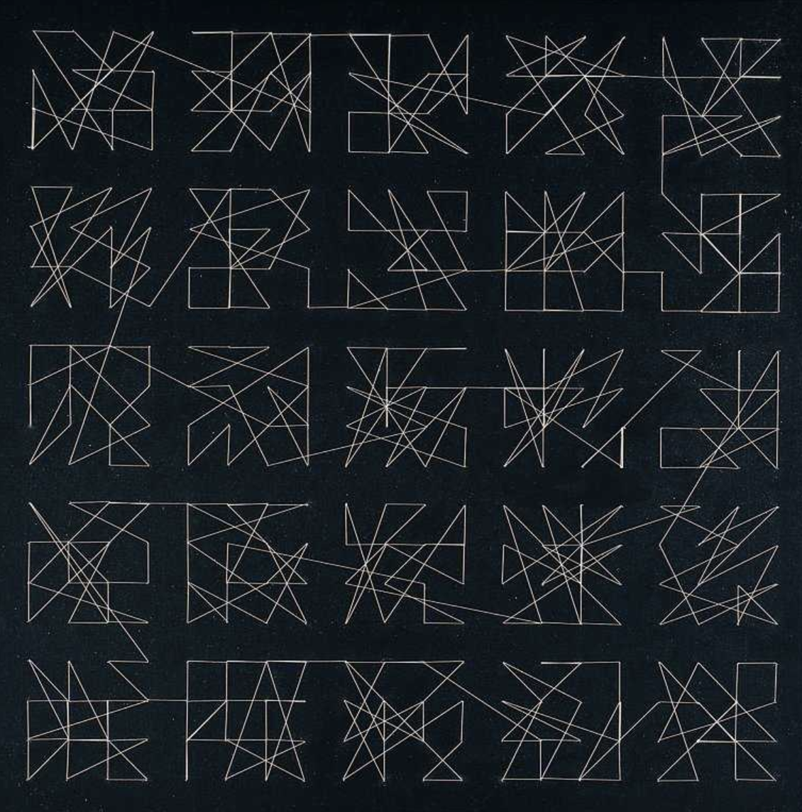 400 aiguilles, traversées par un fil, acrylic on untreated cotton cloth (plywood), cut needles, approx. 40 m thread (knotted once) diptych, 1/2, 1989/2004, 84 x 84 cm, Edition Axel Rohlfs