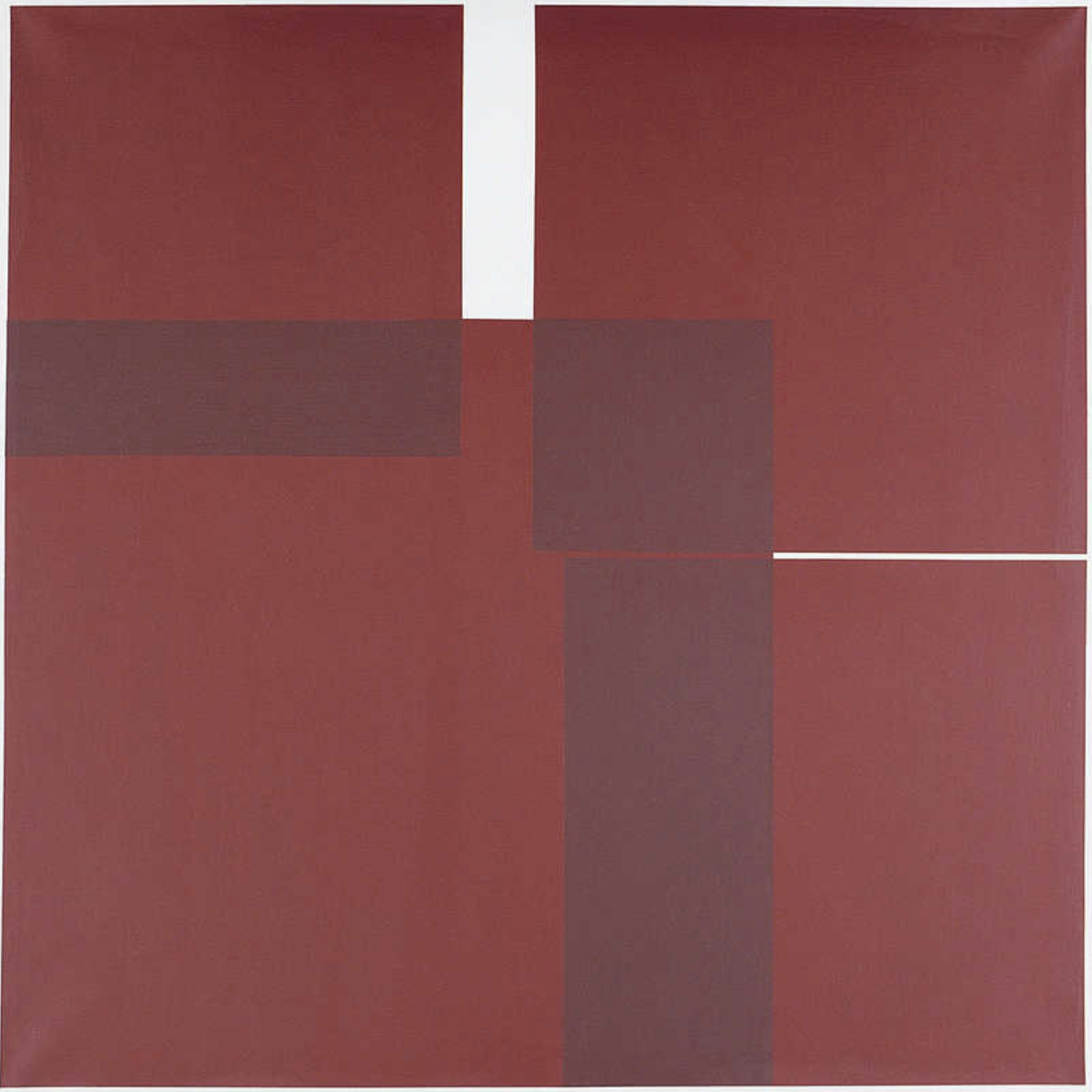 Vera Molnar, Quatre carrés, acrylic on canvas,