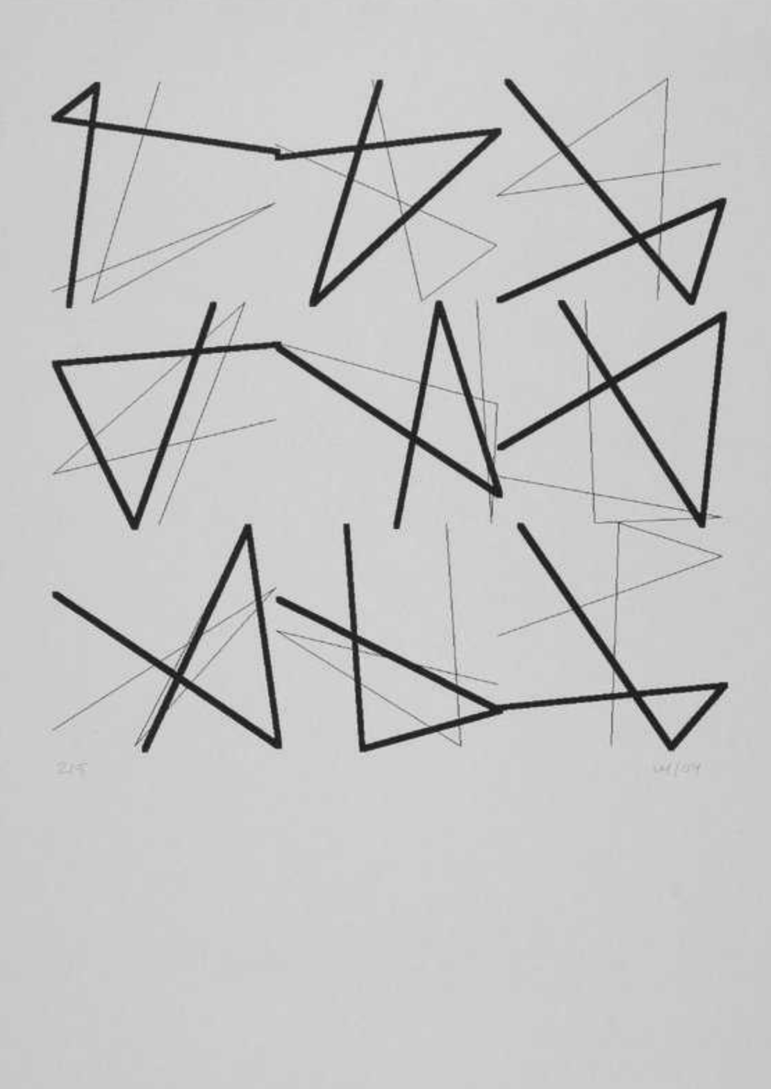 9 Doubles signes sans signification, 5 part, 2004 plotter drawing on grey paper,