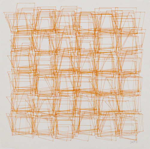 Vera Molnar, Structure de Quadrilatéres (Square Structures), 1987, computer graphic with Chinese water ink on paper. Courtesy of Senior & Shopmaker Gallery, New York.