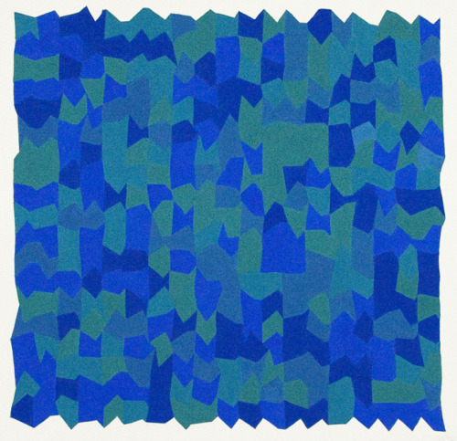 Vera Molnar, 3 Verts Et 3 Bleus, 1972, gouache on board. Courtesy of Senior & Shopmaker Gallery, New York