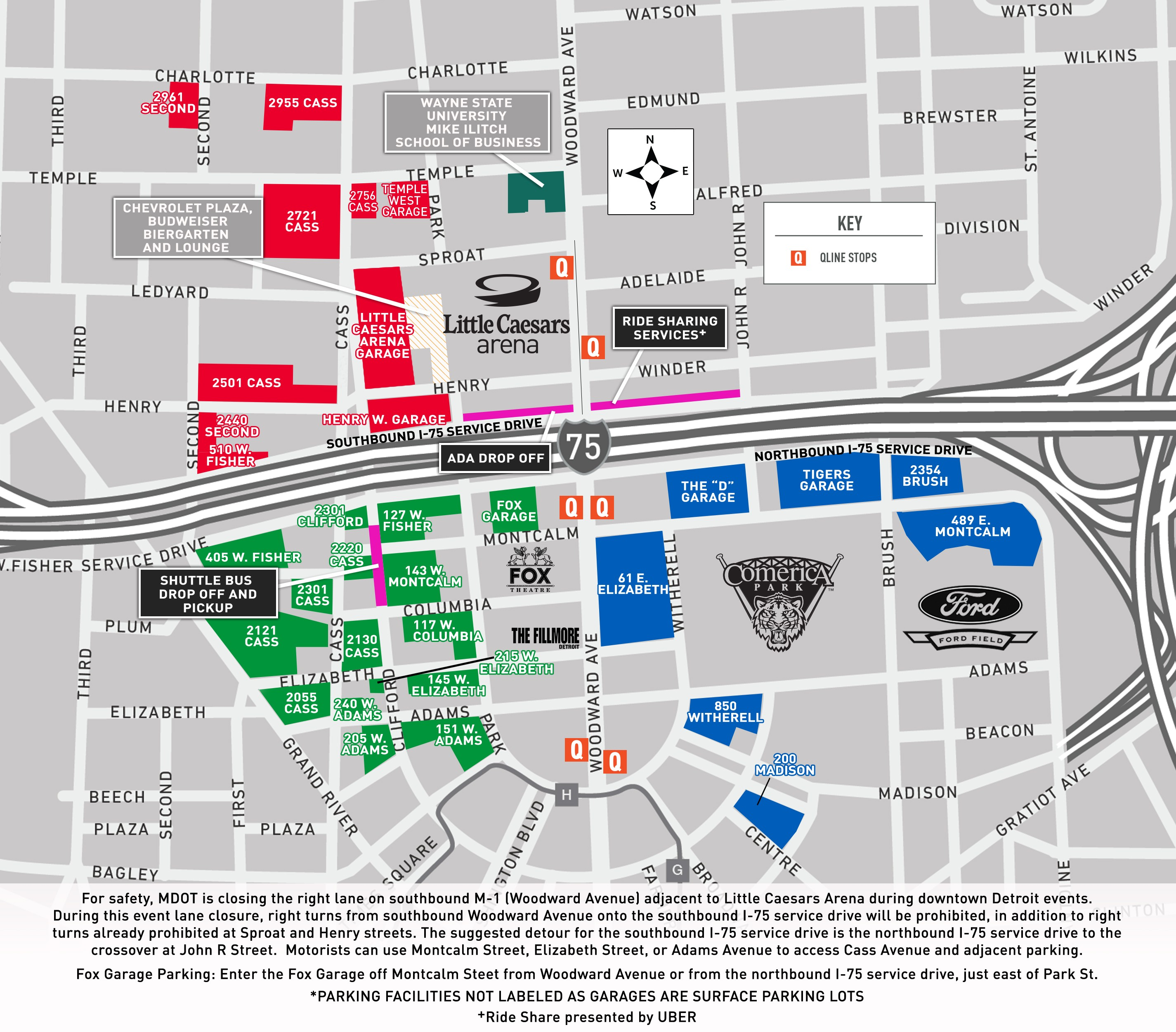 Little Caesars Arena Parking Lots, Maps and Directions
