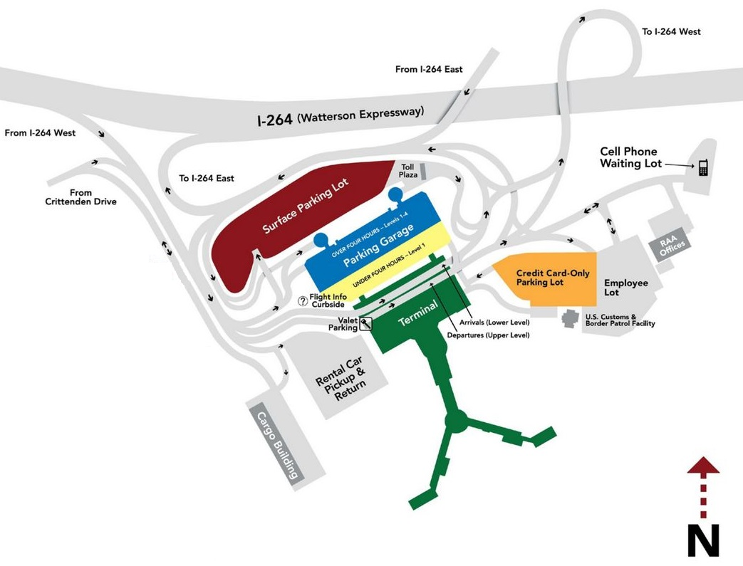 Louisville Airport parking map, rates and availability of long term SDF parking