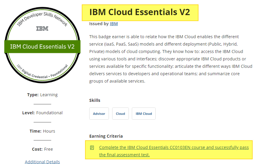 IBM Cloud Essentials V2 badge