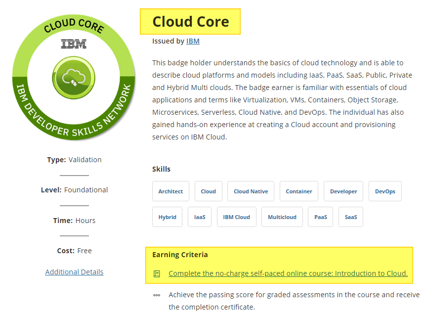 IBM Cloud core badge