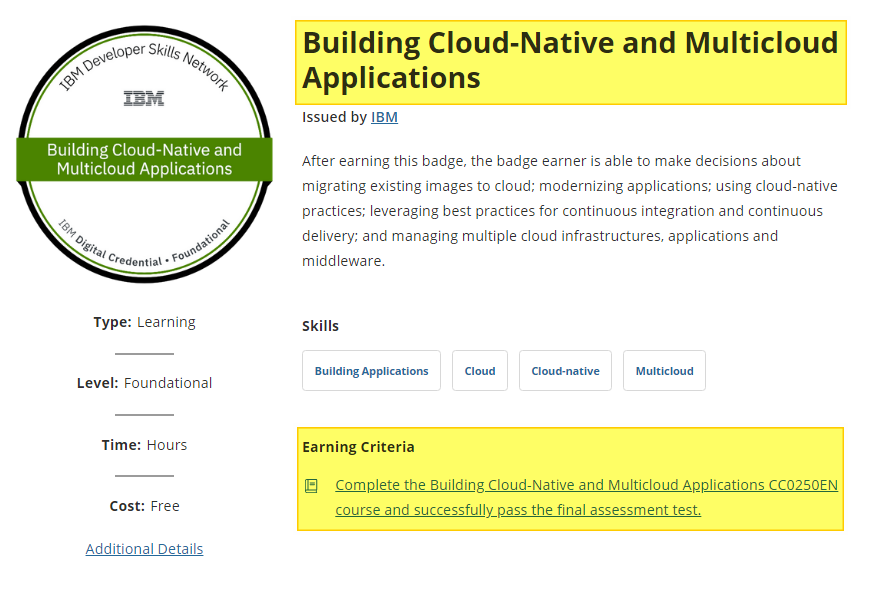 Building Cloud-Native and Multicloud Applications badge