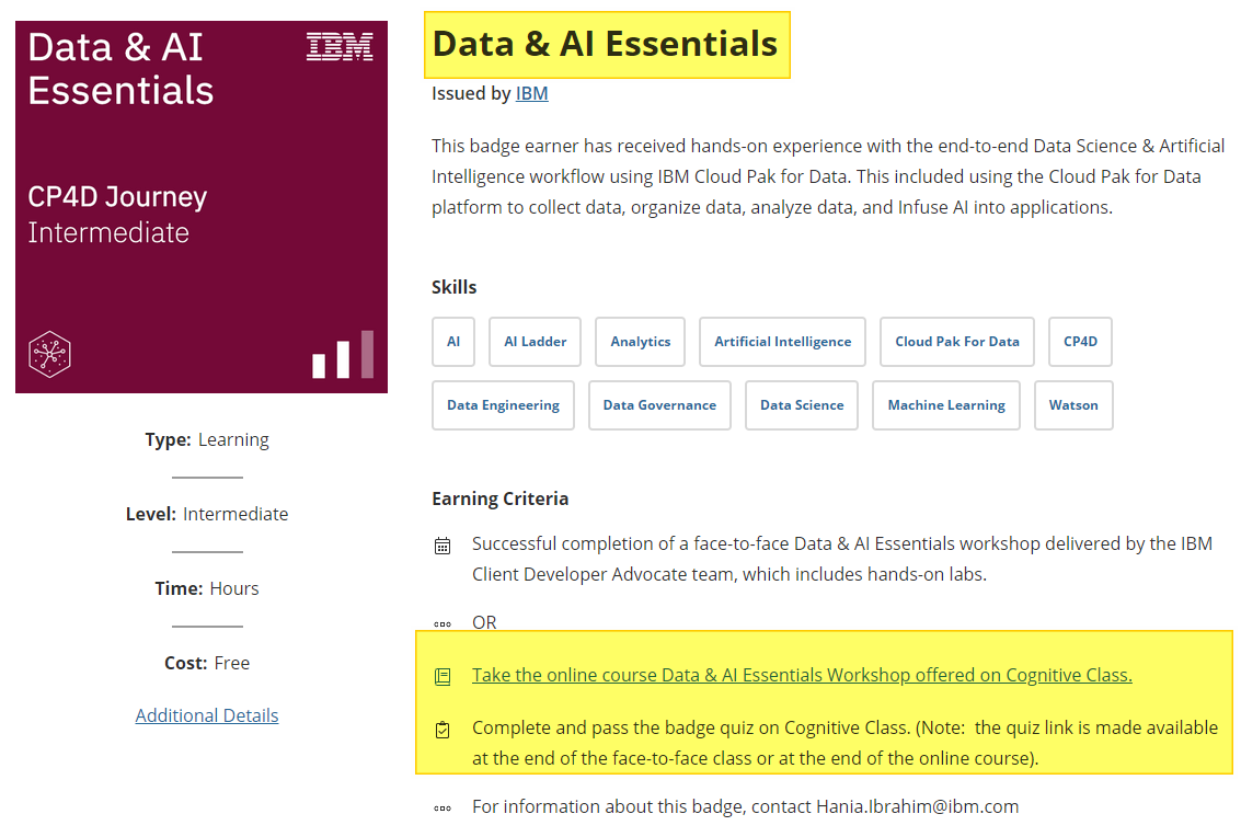Data & AI Essentials badge