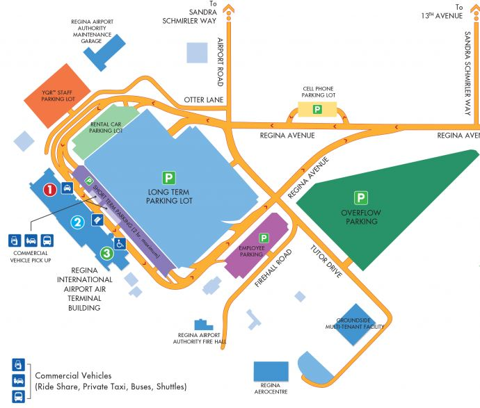 Regina Airport Parking Map