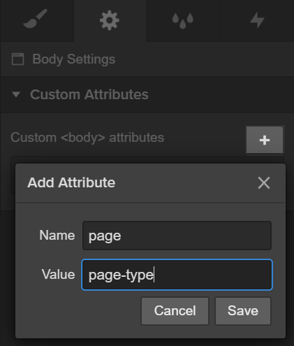 An example of adding a custom attribute in Webflow