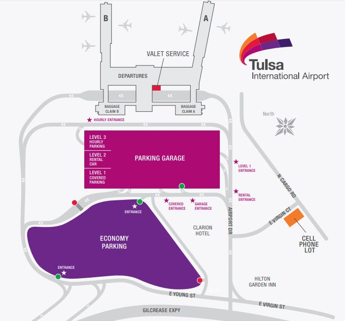Tulsa Airport Parking Map