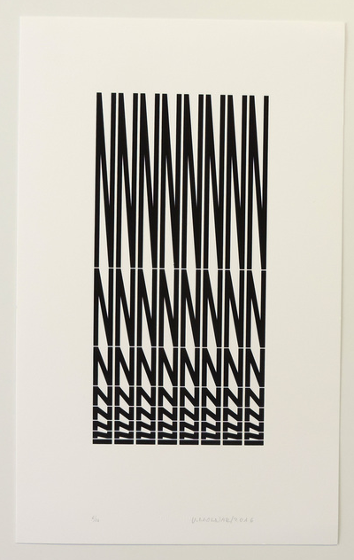 Strucuture à partir de la lettre N , 2011, Serigraphie on Rives paper 300gm2 Source: https://www.artsy.net/artwork/vera-molnar-strucuture-a-partir-de-la-lettre-n (Link from Lynn H)