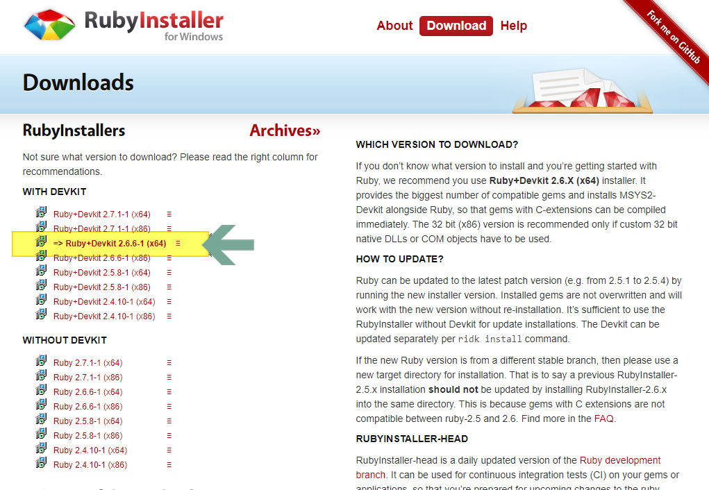 Ruby installer for Windows