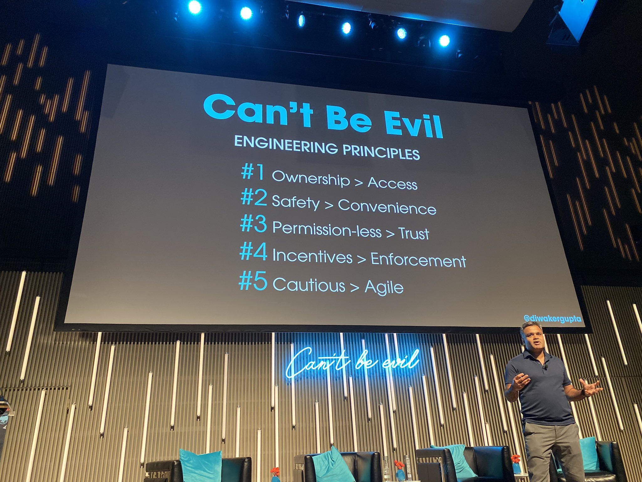 Blockstack PBC Head of Engineering, Diwaker Gupta, discussing the principles of Can't Be Evil