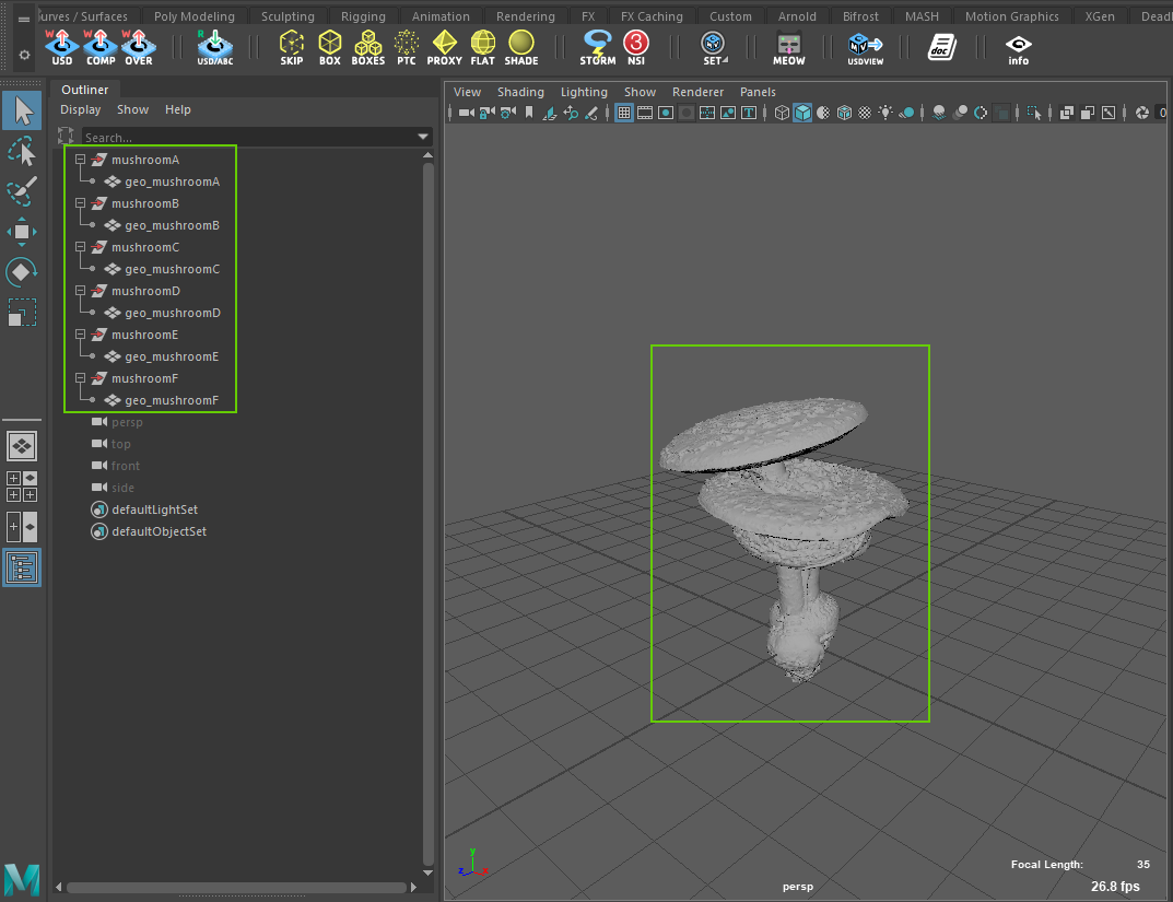 Mushroom sources for point instancing