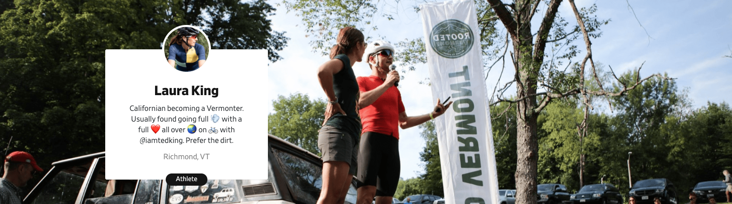 Pro cyclists Laura King and Ted King at their event, Rooted Vermont