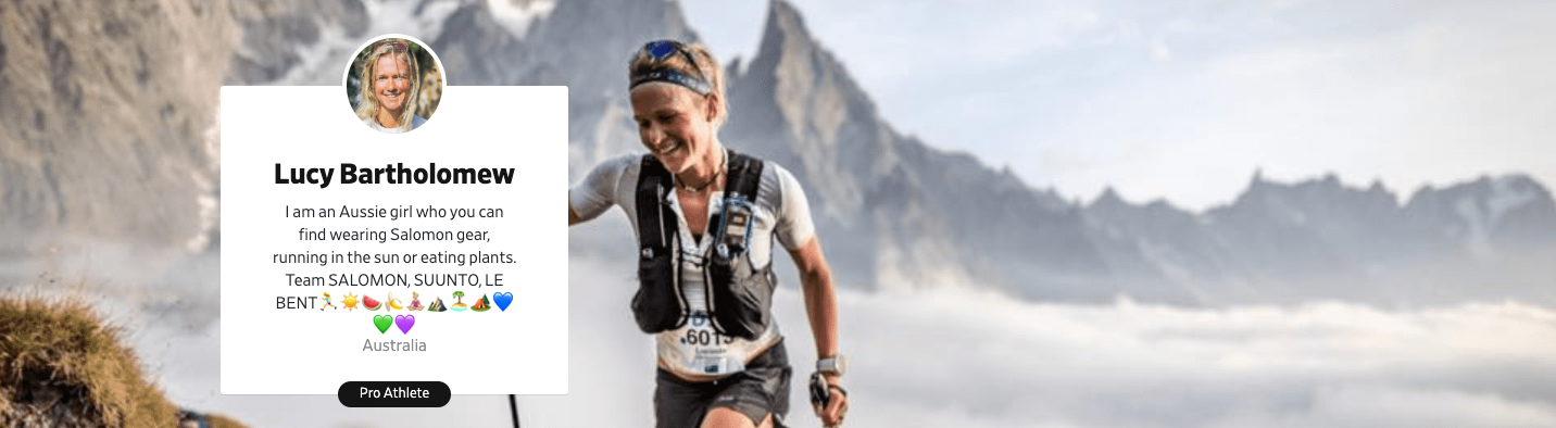 Ultrarunner Lucy Bartholomew hiking in mountains