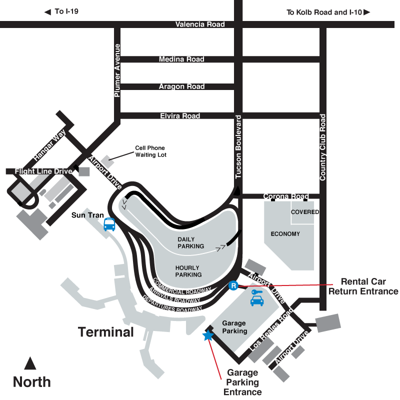 Tucson Airport parking map