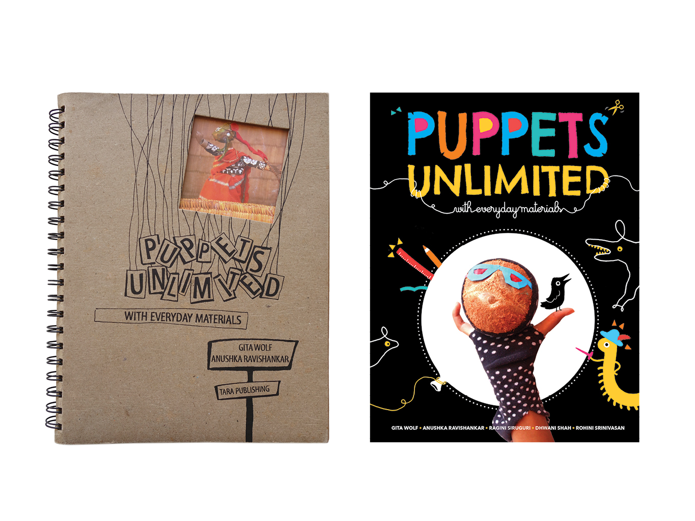 Puppets Unlimited with Everyday Materials, Tara Books, 1998 (First edition, left) and 2019 (Second edition, right)