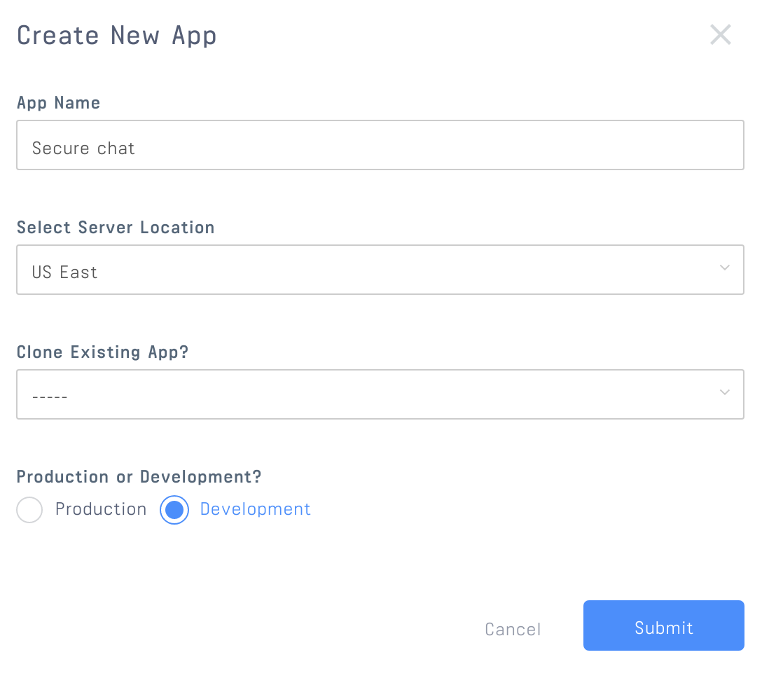 Image shows an app being created in the Stream dashboard