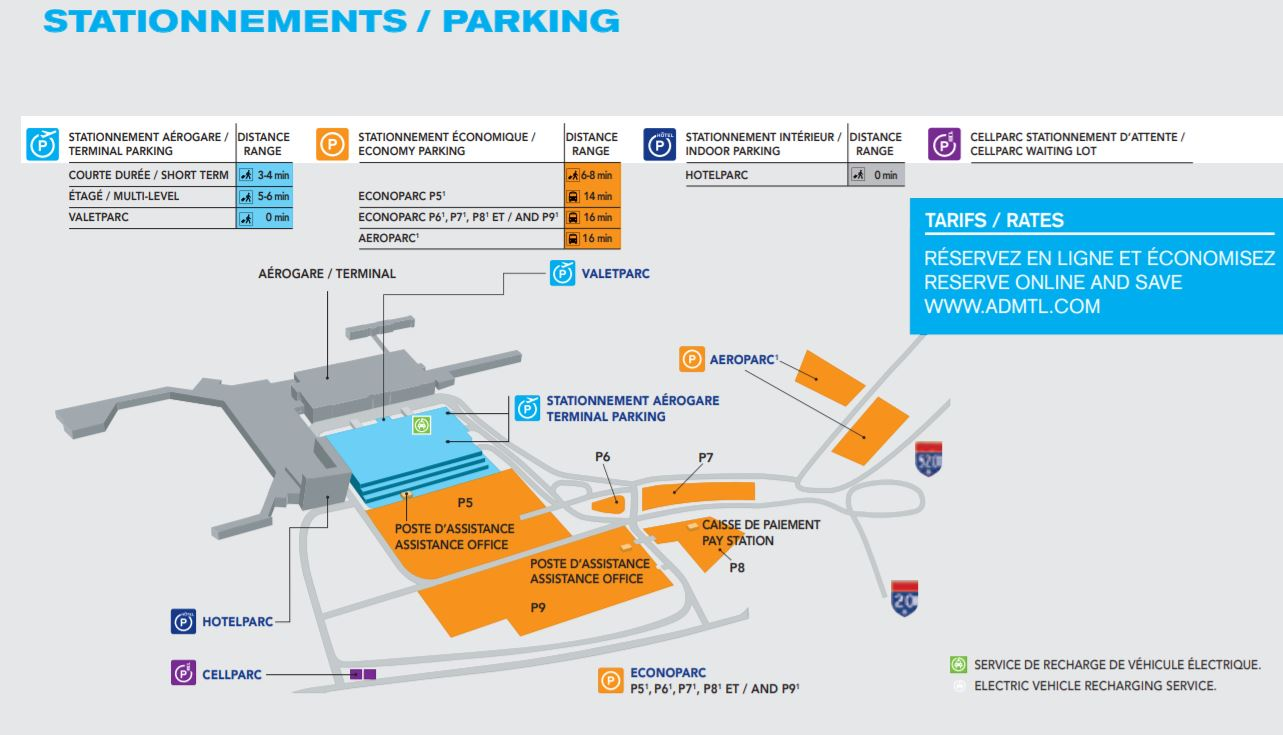 Montreal Airport Parking Map