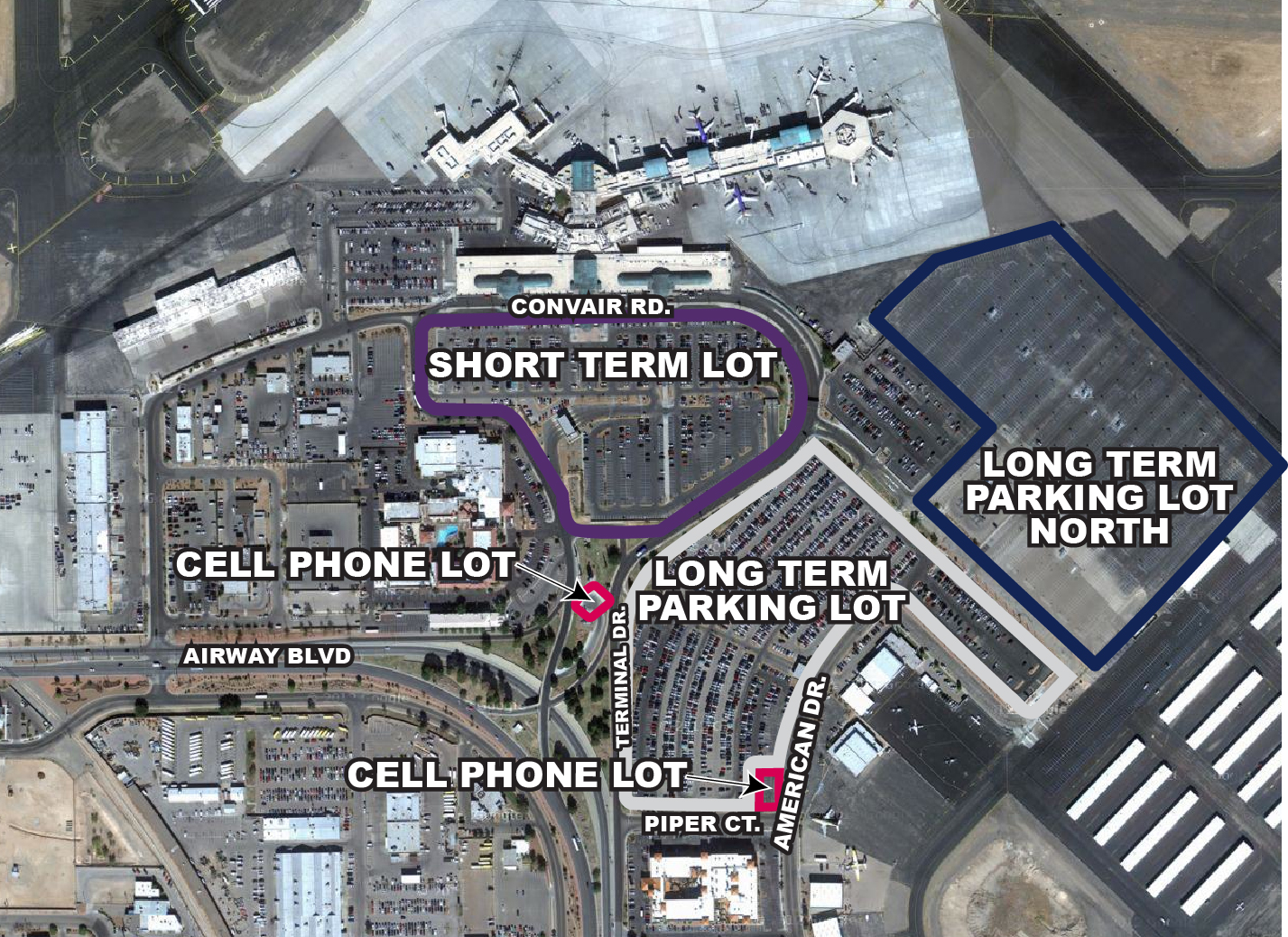 El Paso Airport Parking Map