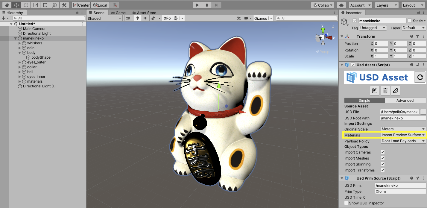 Maneki, generated by Multiverse, in Unity3D