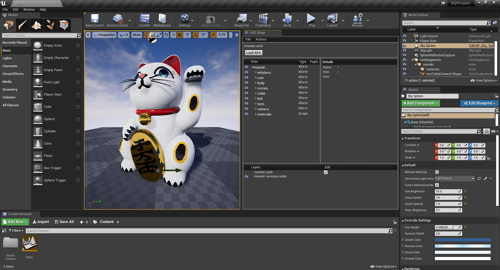 Maneki, generated by Multiverse, in Unreal Engine