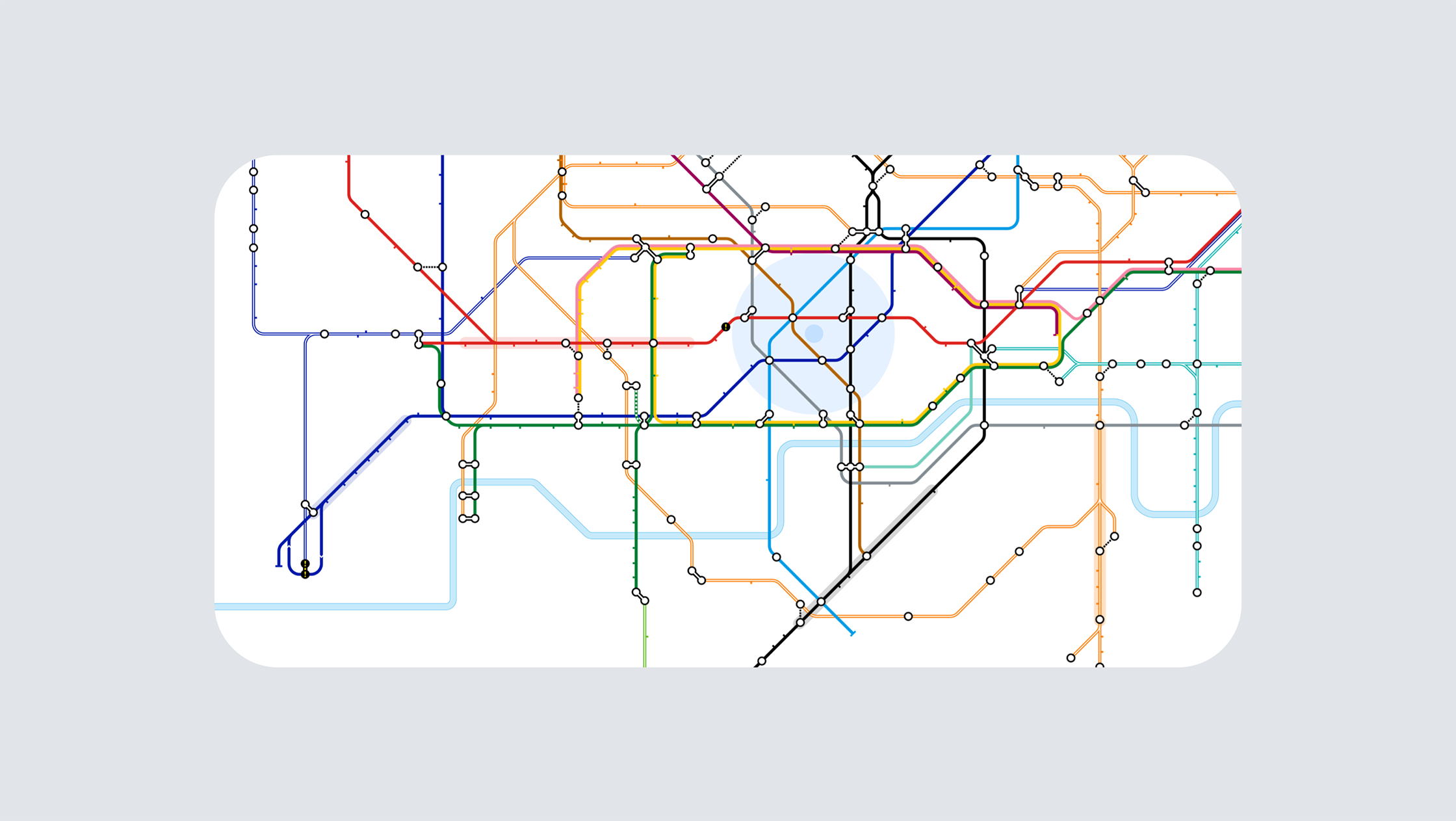 An image of the zoomed out live digital Tube map