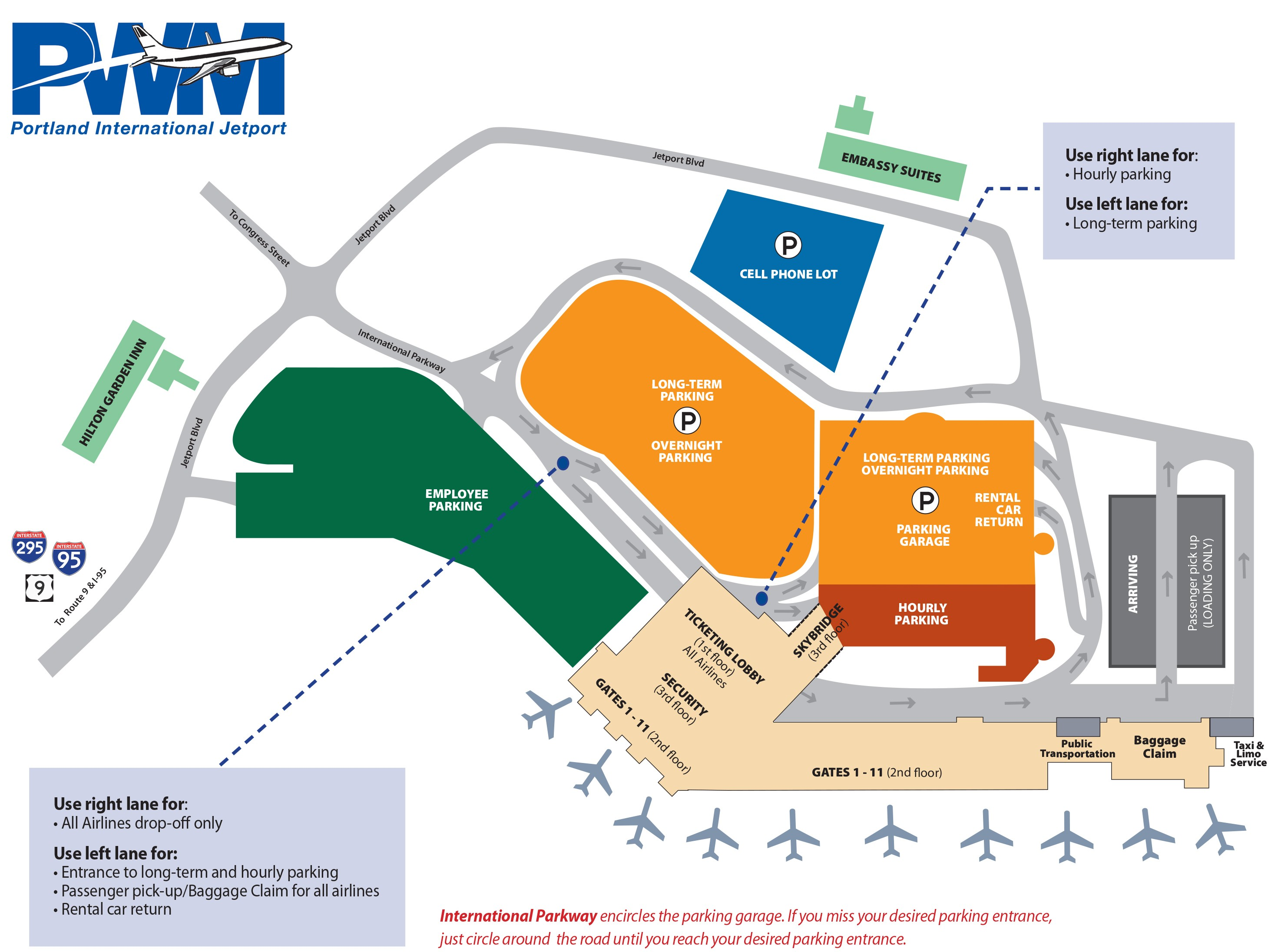 Portland Maine Airport Parking Map