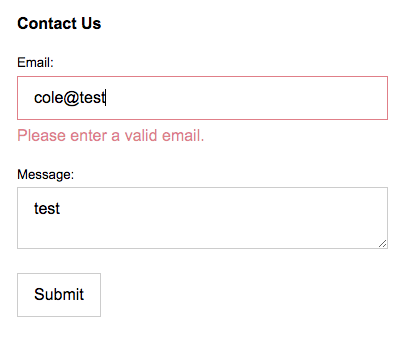 Contact us form with custom validation