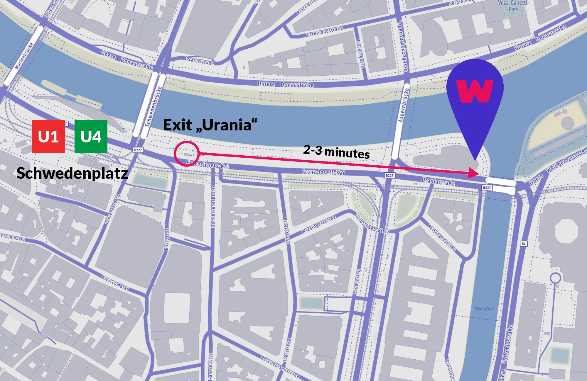 map of pedestrian route to the venue from schwedenplatz