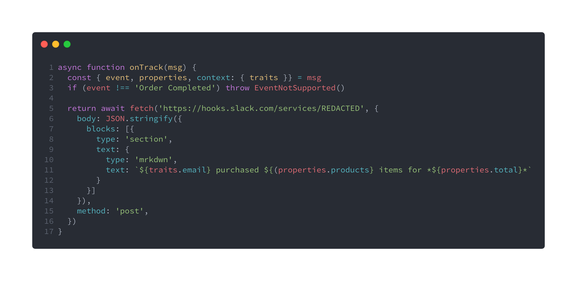 Custom destination for Slack using Functions with just ten lines of code