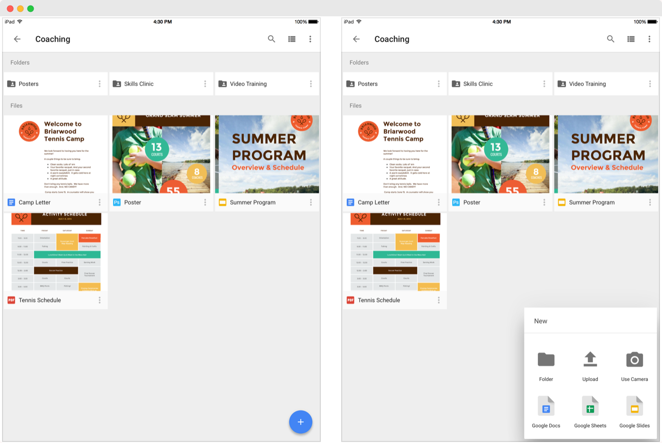 Screenshots of Google Drive