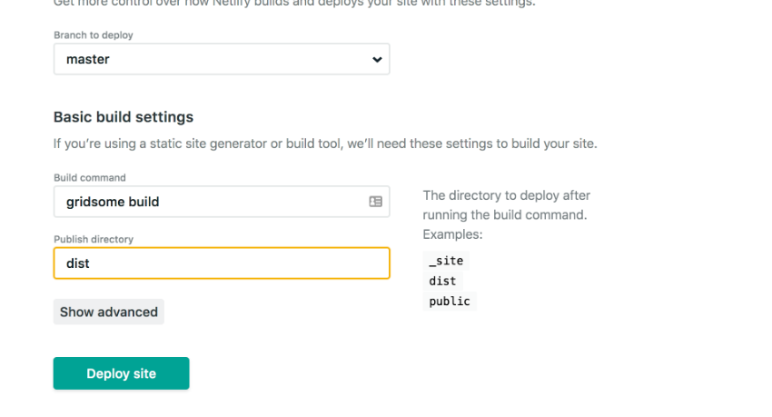 Netlify deploy: Set Publish directory to dist.