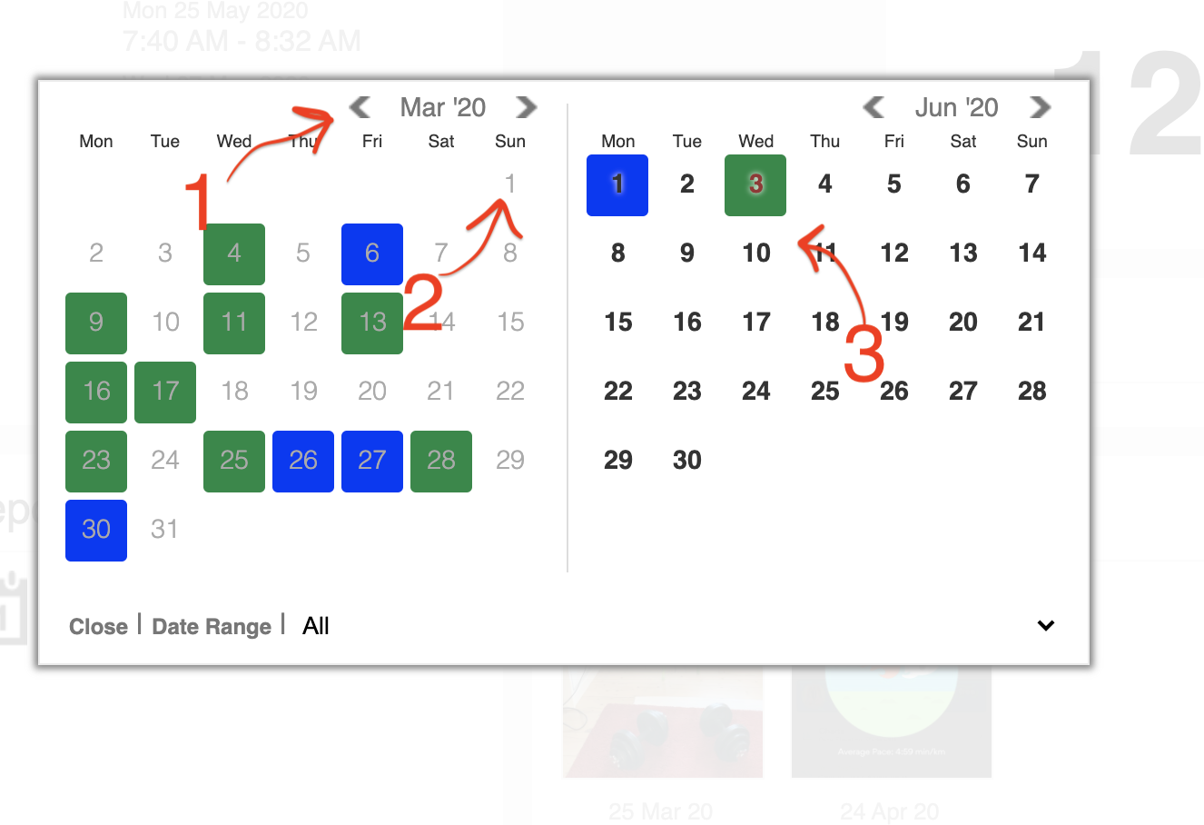 Navigate back and click the earliest date you want, then the latest date.