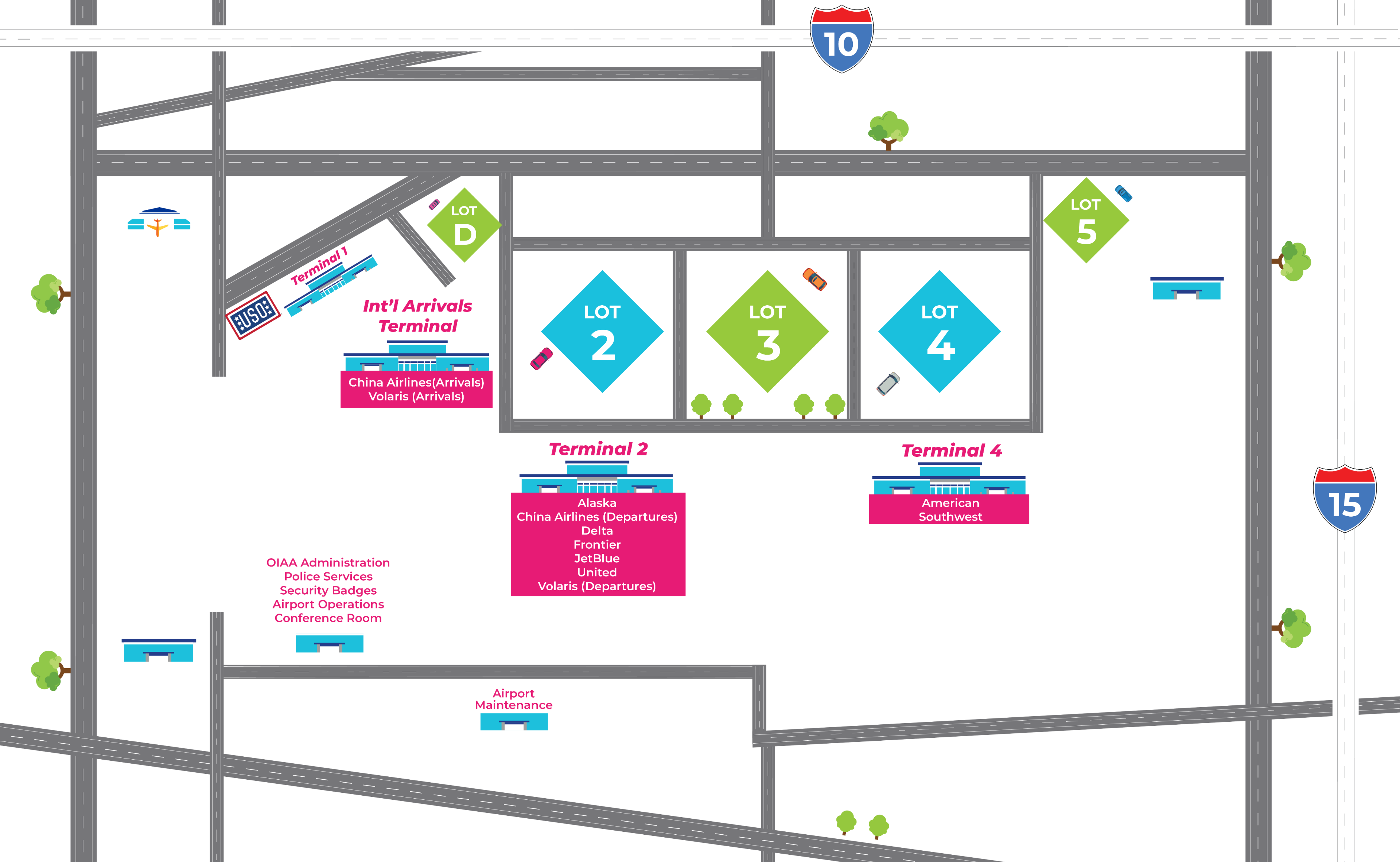 Ontario Airport parking map