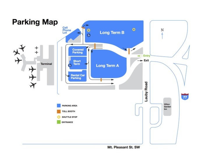 Akron Canton Airport Parking Map