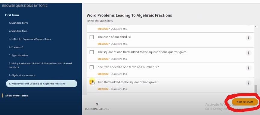 Create your assessment by selects questions from the question pool