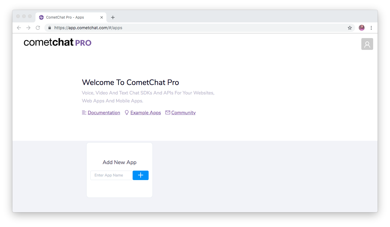 CometChat Pro application dashboard
