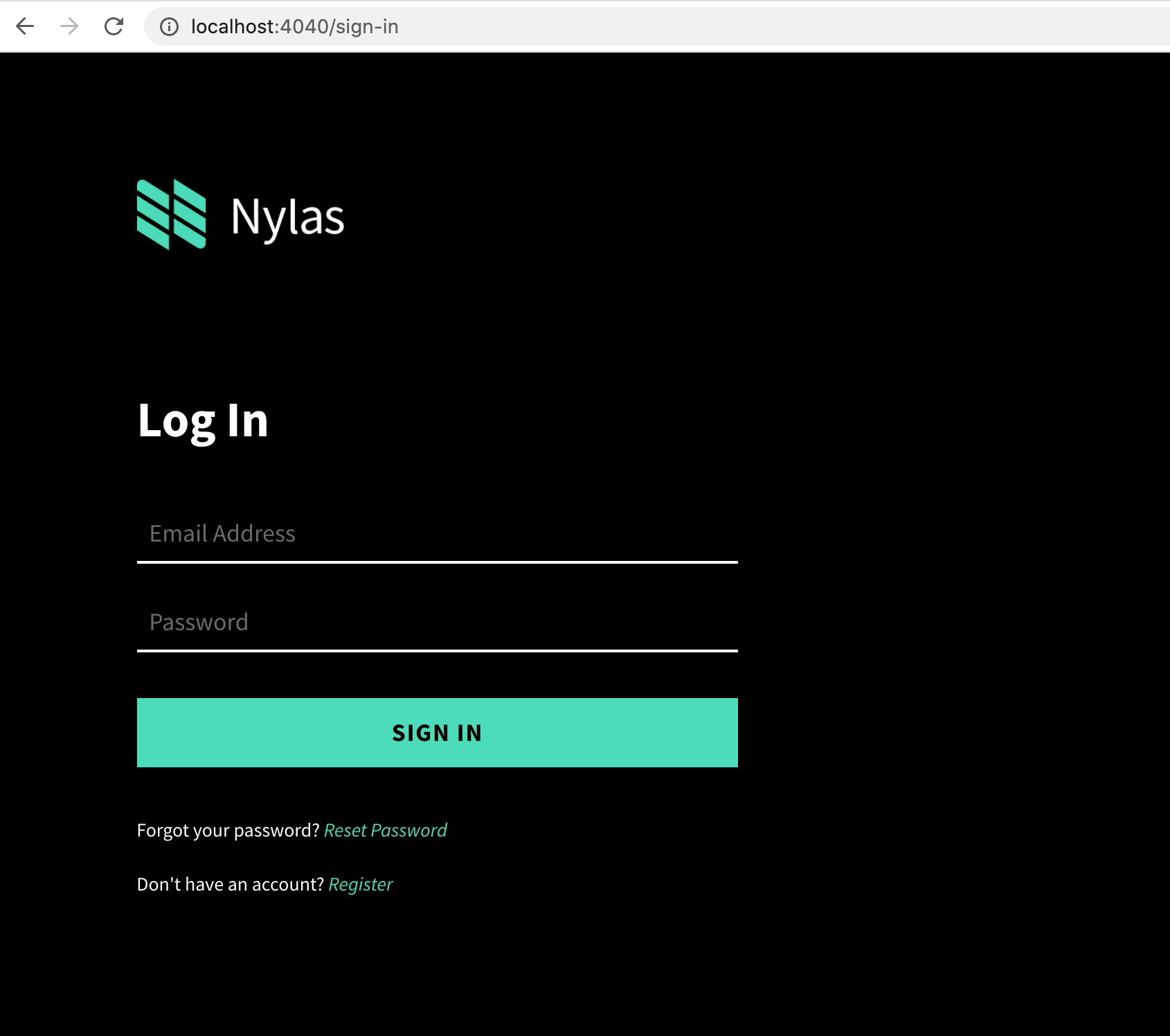 While we're port-forwarding, I'm able to access the Nylas Dashboard