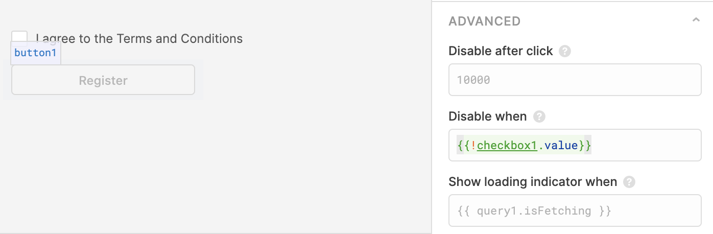 This Button Component is using JS in between {{ }} to be disabled when the Checkbox Component isn't checked.