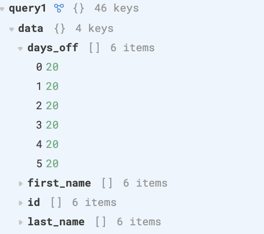 Example of query1.data , which is an Object filled with arrays, where each array matches a column from the database table