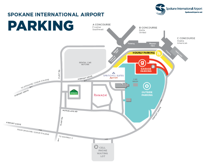 Spokane Airport Parking Map