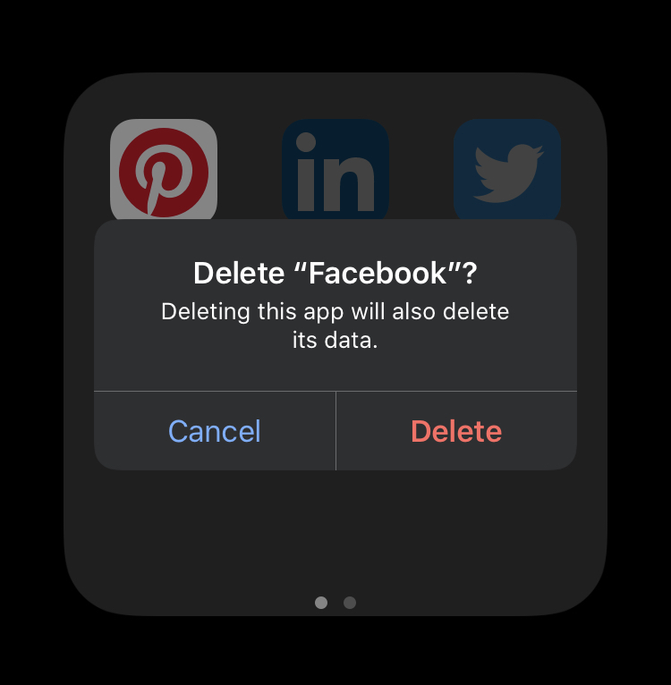 Phone screen where user is trying to delete facebook