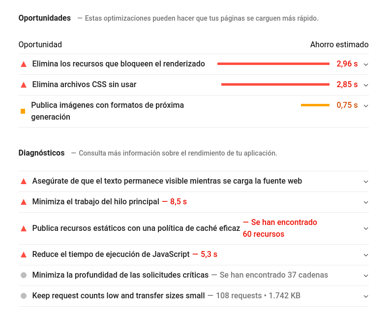 fallos optimización de carga web
