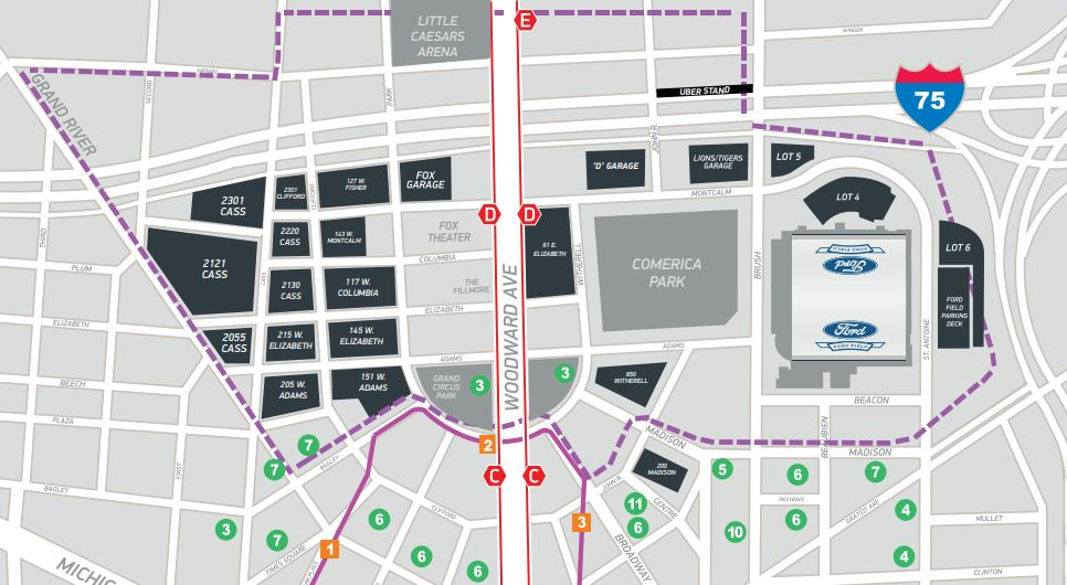 Ford Field Parking Map